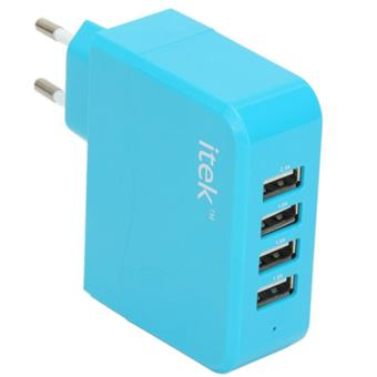 buy ITEK FOUR PORT USB WALL ADAPTER BLUE :ITEK